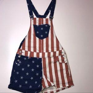 American Rag USA Flag Print Overalls Size 3